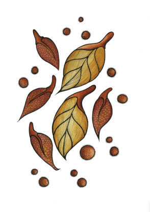 Autumn Leaves ink illustration