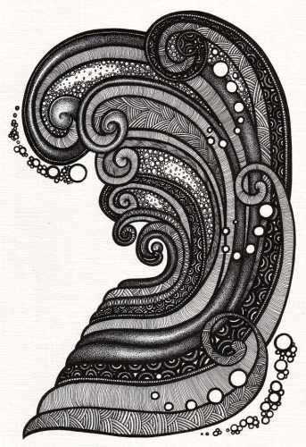 'Curling Wave': Ink on A4 acrylic paper