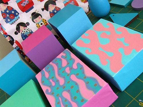 Little canvases and wooden stuf