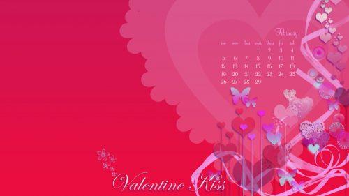 February Valentine Desktop Calendar 1366 x 768