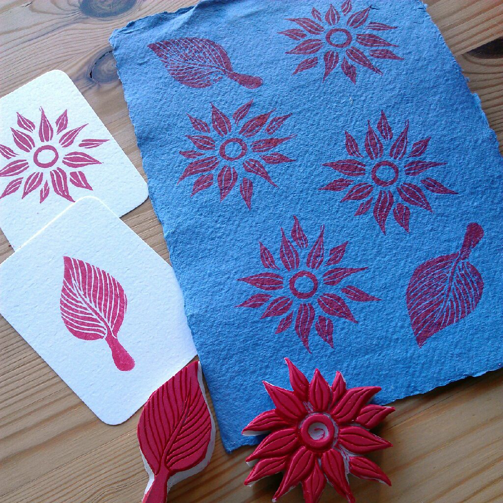 Flower and leaf stamp print on Khadi paper