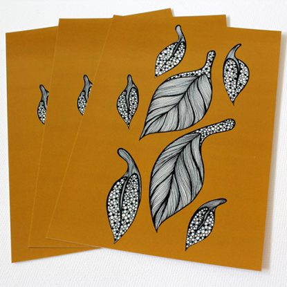Golden Leaves - Art Postcard