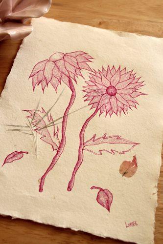 Chrysanthemums - Original Drawing in Ink