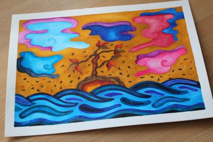 Japanese weave inspired water colour painting by Lorrie Whittington