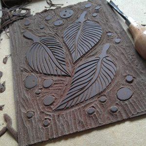 Leaf lino cut WIP