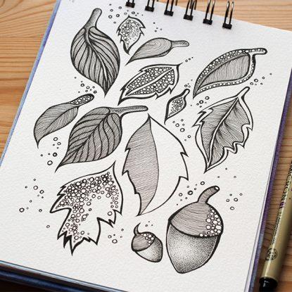 Leaves illustration in Sketchbook - August 2012