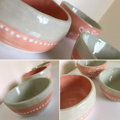 Orange Blossom and Sage Trio of Pinch Pots