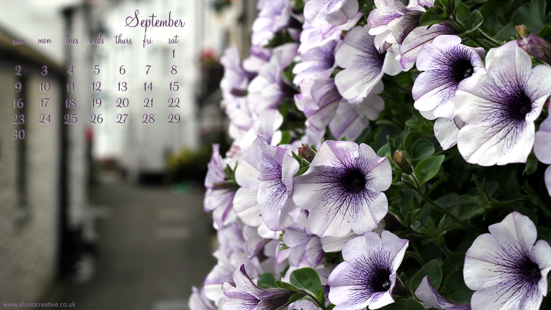 September 2012 Desktop Calendar - Polperro - 1920 x1080