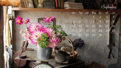 September Desktop Calendar I - 1366 x 768