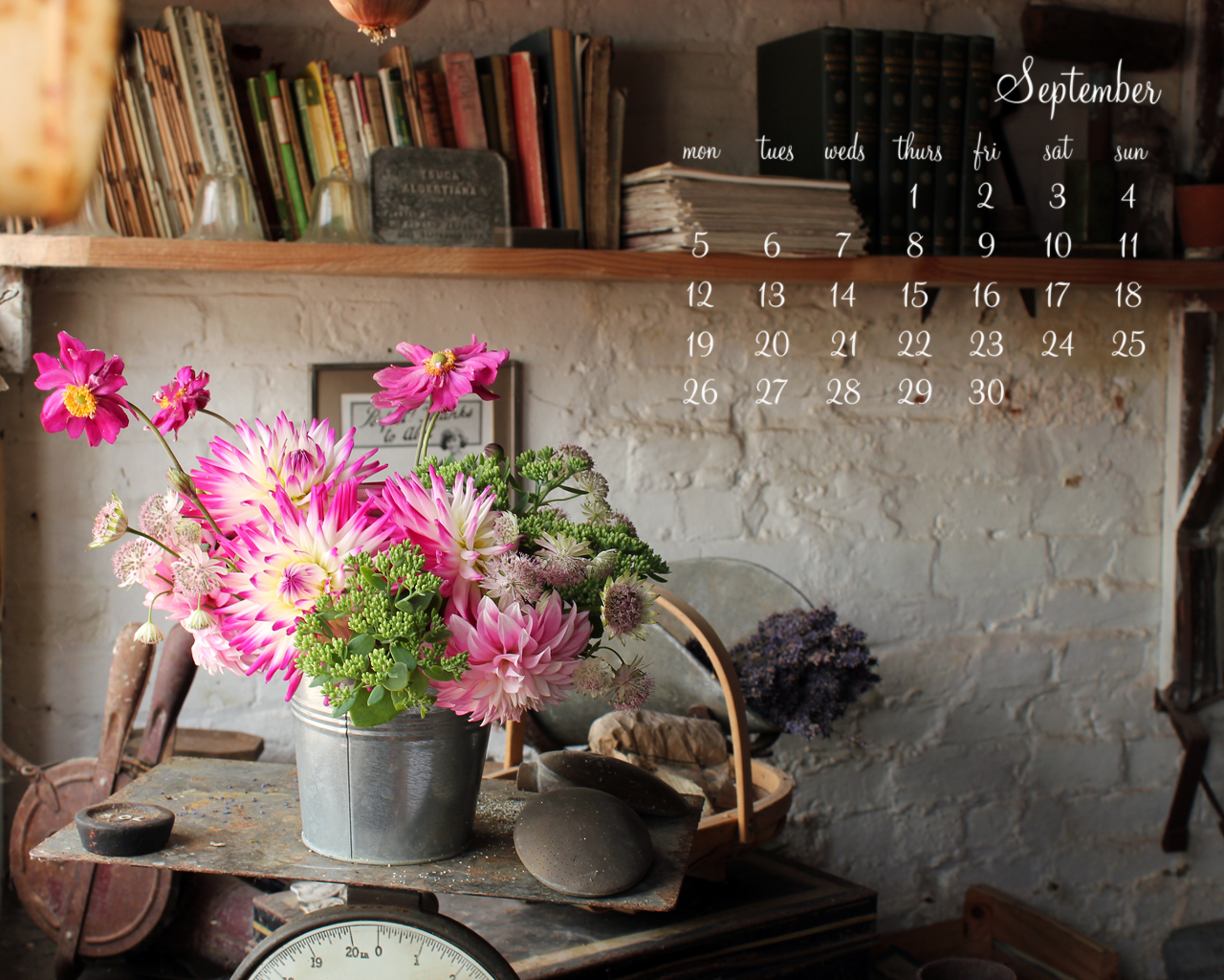 September Desktop Calendar I - 1280 x1024