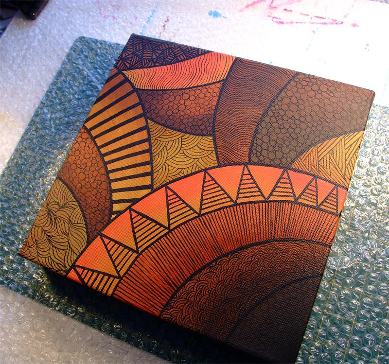Tribal II - Acrylic on 10x10 Canvas