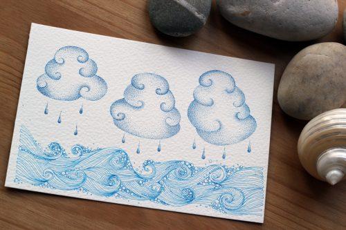 Rain Upon the Sea: Original illustration on watercolour postcard