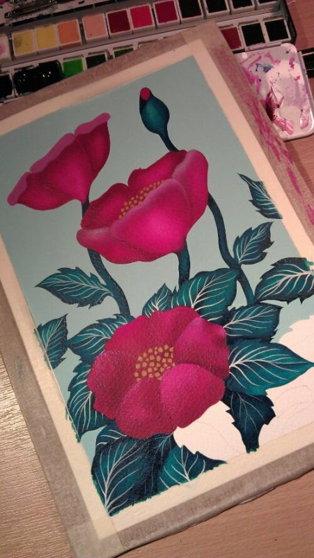 Japense kimono inspired water colour WIP