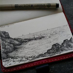 Talland Bay near Polperro drawn in my moleskin